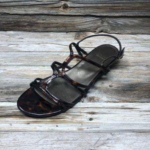 Stuart Weitzman Tortoise Shell Sandal Wedges 10